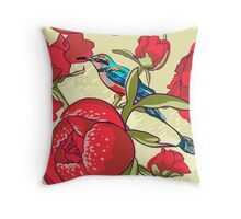Seamless floral background with peonies bird Throw Pillow