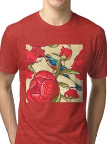 Seamless floral background with peonies bird Tri-blend T-Shirt