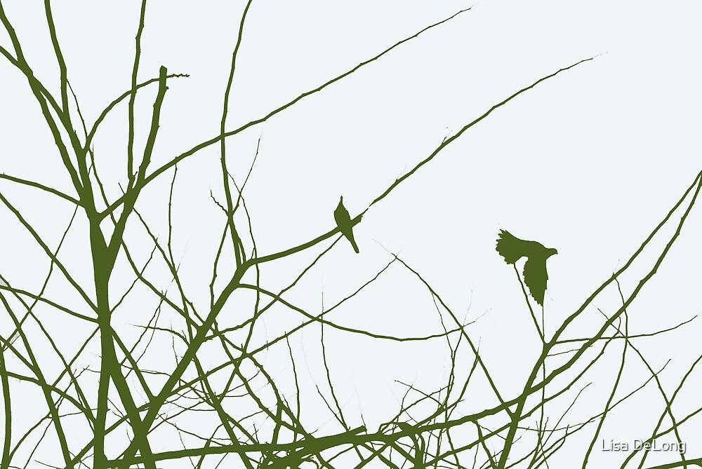 Green birds in trees by Lisa DeLong