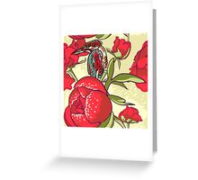 Seamless floral background with peonies bird Greeting Card