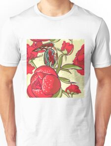 Seamless floral background with peonies bird Unisex T-Shirt