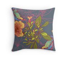 Seamless floral background with petunia Throw Pillow