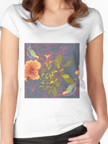 Seamless floral background with petunia Women's Fitted Scoop T-Shirt