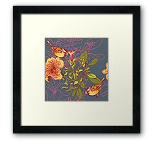 Seamless floral background with petunia Framed Print