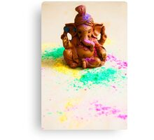 Ganesha Playing Holi Canvas Print