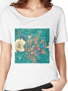 Seamless floral background with petunia Women's Relaxed Fit T-Shirt