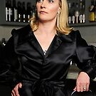 Front of Black Satin Evening jacket by Lisa Defazio