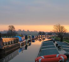 Sunset on the Shropshire Union Canal, Nantwich, England by jillian4840