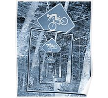 Bicycle Caution Traffic Sign Poster
