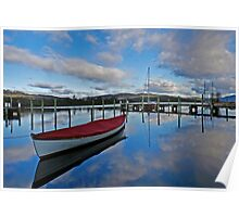wooden boat sunset Poster