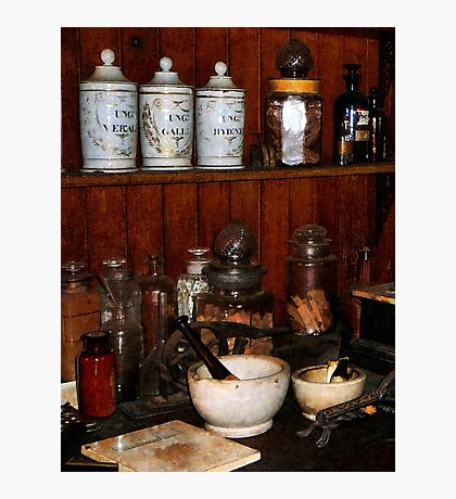 Mortar and Pestle in Drug Store Photographic Print