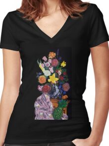 Aso-Oke and flowers- still-life Women's Fitted V-Neck T-Shirt