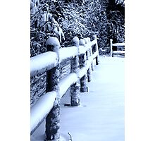 Snow on Fence Photographic Print