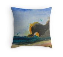 rock,in sea. Throw Pillow