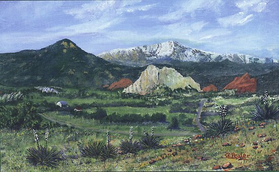 Pikes Peak, The Garden of the Gods- acrylic painting by Gordon Pegler