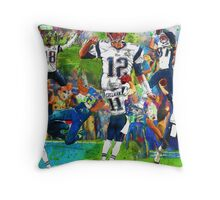 New England Patriots 2015 Super Bowl Champions Collage Throw Pillow