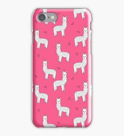 Alpaca - Pink by Andrea Lauren iPhone Case/Skin