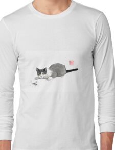Silly cricket sumi-e painting. Long Sleeve T-Shirt