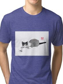 Silly cricket sumi-e painting. Tri-blend T-Shirt