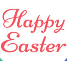 Happy Easter with colorful egg flower Sticker