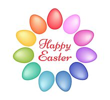 Happy Easter with colorful egg flower Photographic Print