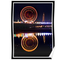 Blackpool at night Poster