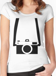 Black and White Camera  Women's Fitted Scoop T-Shirt
