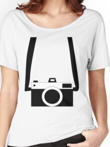 Black and White Camera  Women's Relaxed Fit T-Shirt