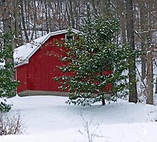 Red Barn on a Snowy Day by Susan S. Kline