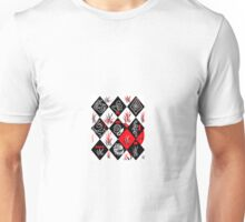 White Black and a touch of red Abstract Unisex T-Shirt