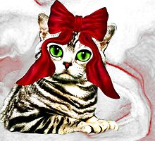 Red ribbon cat by CheyenneLeslie Hurst