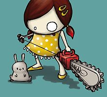 little Girl, rabbit and chain saw by amikal