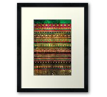 Magic aztec grungy tribal pattern Framed Print