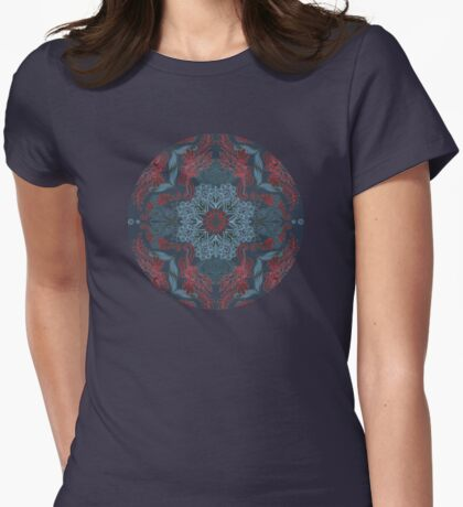 Vintage Fancy - a Pattern in Deep Teal & Red Womens Fitted T-Shirt