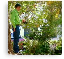 Man Walking His Dog Canvas Print