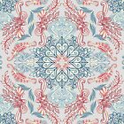 Vintage Fancy - a Pattern in Pale Blue, Navy & Deep Rose by micklyn