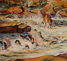 A river without poluition Part 1  (acrylic painting, 50 x70 cm) by Marilia Martin