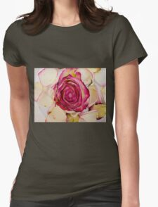 Pink White roses Womens Fitted T-Shirt