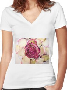 Pink White roses 2 Women's Fitted V-Neck T-Shirt