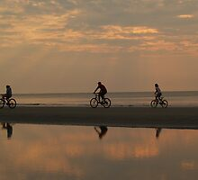 Bicycling at Dawn, Hunting Island by Anna Lisa Yoder