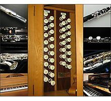 Keyboard and Woodwind Music Collage Photographic Print