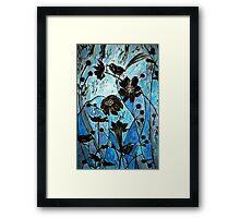 Blue Japanase Woodcut Framed Print
