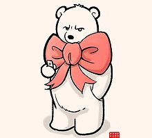 Polar Bear In Pink Ribbon by Panda And Polar Bear