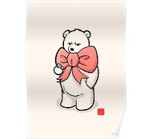 Polar Bear In Pink Ribbon Poster
