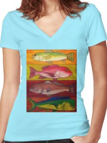 4 Fin Special Women's Fitted V-Neck T-Shirt