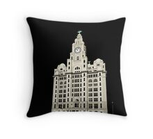 Royal Liver Building - inked on black Throw Pillow