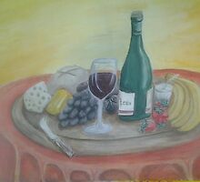 Fruit, Wine and Cheese by rgsart