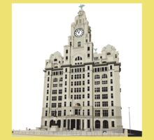 Royal Liver Building - inked on white Kids Tee