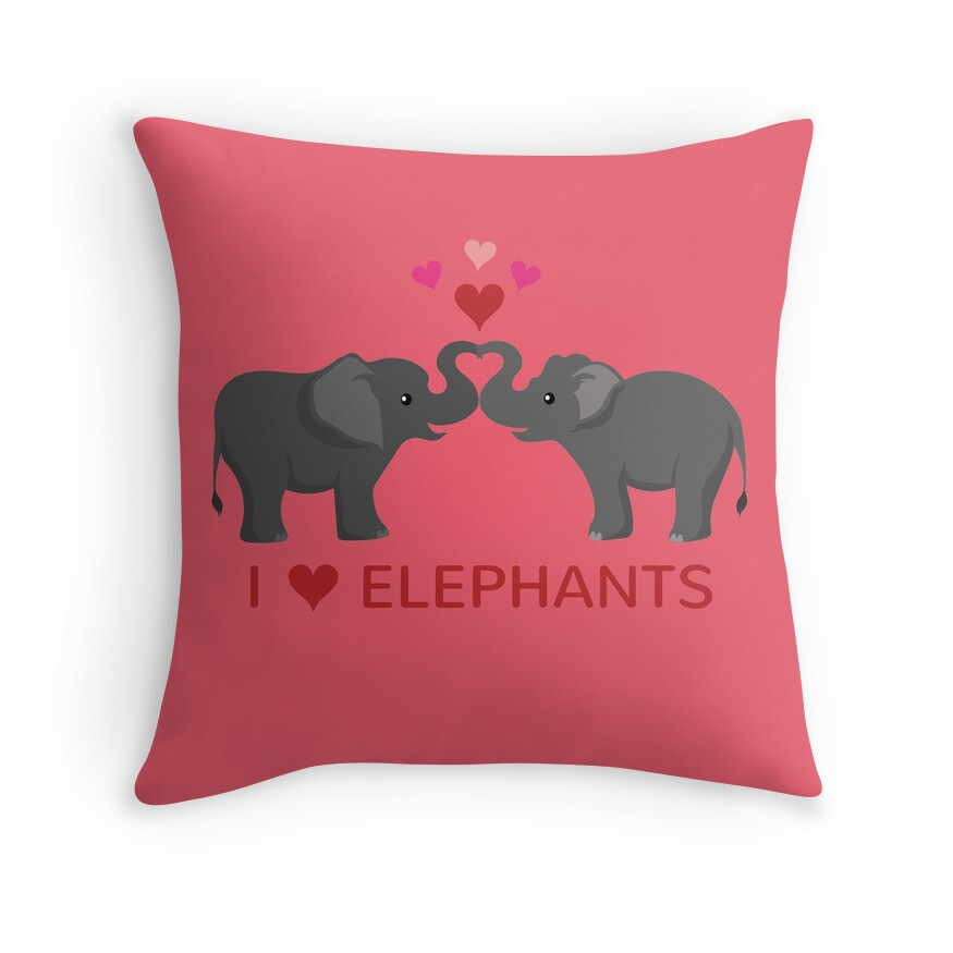Love elephants heart trunks throw pillows by for Elephant heart trunk
