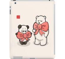 Panda And Polar Bear In Ribbons iPad Case/Skin
